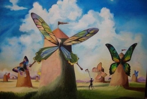 An illustration with butterfly-shaped mills.