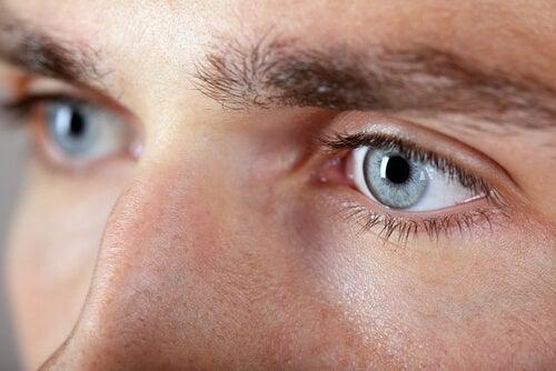 Closeup of a man's eyes.