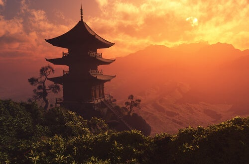A Chinese landscape during sunset.