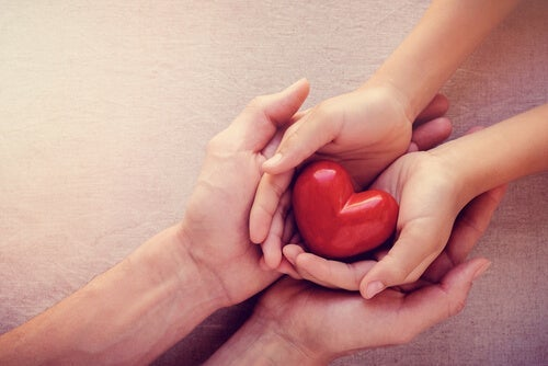 Hands holding a plastic heart.