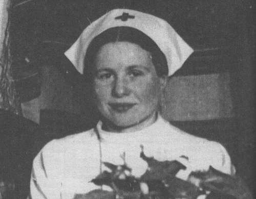 Irena Sendler dressed as a nurse.
