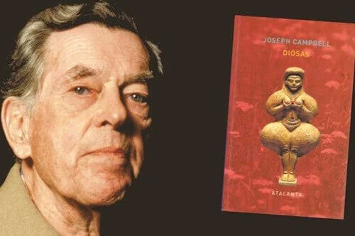 Joseph Campbell next to one of his books.