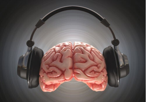 A brain with headphones.