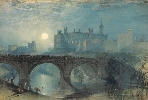 Painting of a bridge at night.