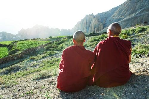 Tibetan monks enjoying the view.