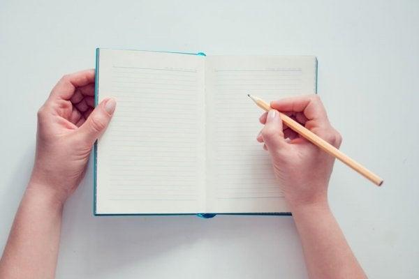 Writing a diary.