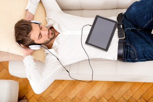 A man listening to music.