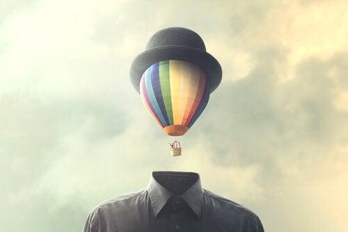 A man with a head like an air balloon.