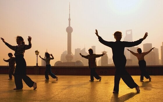 Some people doing Tai Chi.