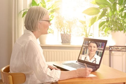A doctor doing telemedicine.