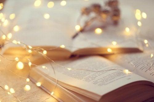 A set of lights over a book.
