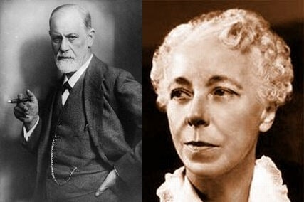 Karen Horney and Sigmund Freud.