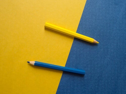 Two color pencils.