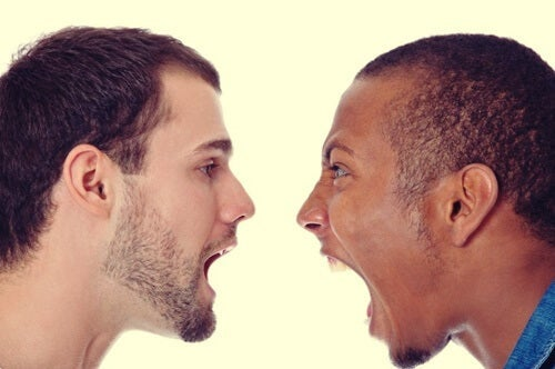 Two men yelling at each other.