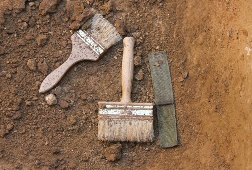 Some archaeological tools in the dirt.