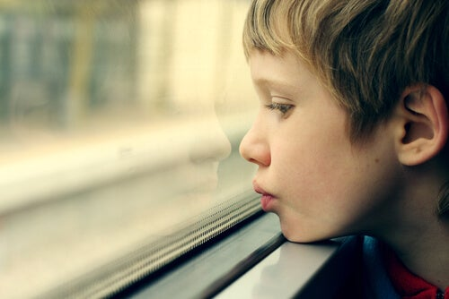 An autistic kid looking out of a window.