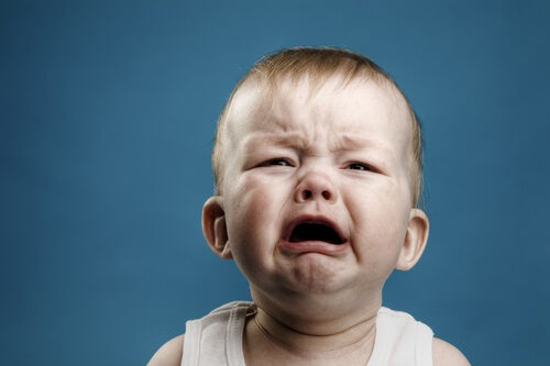 A baby crying.