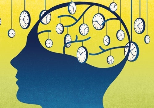 A brain surrounded by clocks.