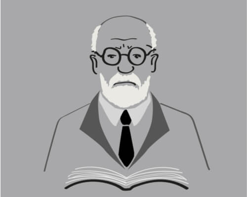 A cartoon of Freud with a book.