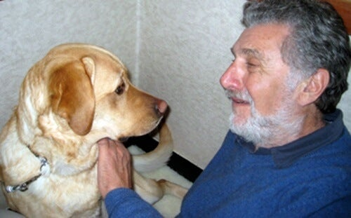 Elliot Aronson with his guide dog.