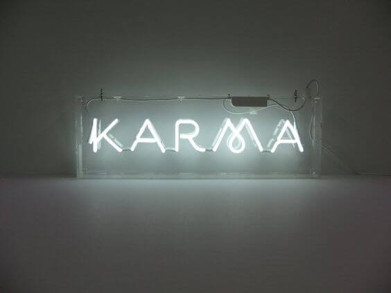 Karma in lights.