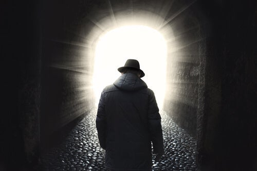 A man in a tunnel.