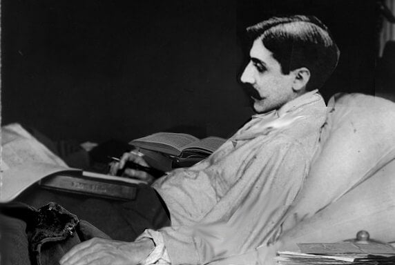 Marcel Proust ill in bed.