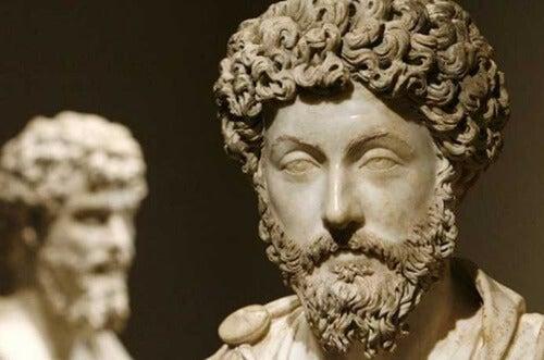 A statue of Marcus Aurelius.