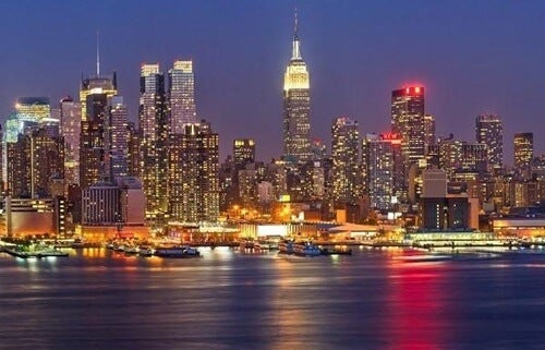 The New York skyline at night.