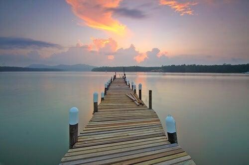 A pier on a lake.