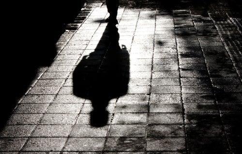 A shadow in a street.