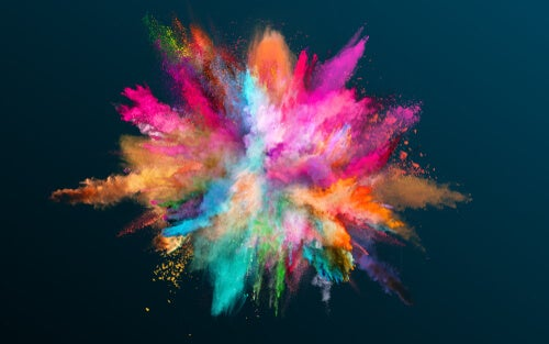 Colorful smoke in a dark background.
