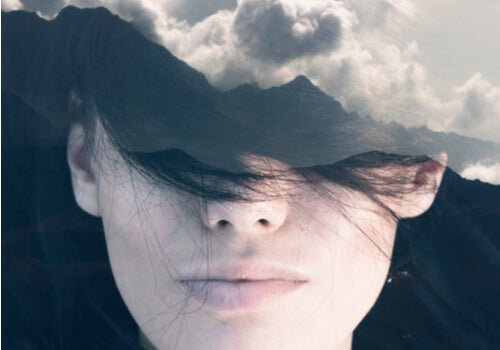 A woman surrounded by clouds.