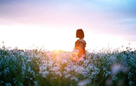 A woman in the fields.