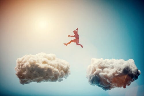 A person cloud hoping.