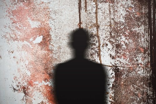 A shadow on a wall.