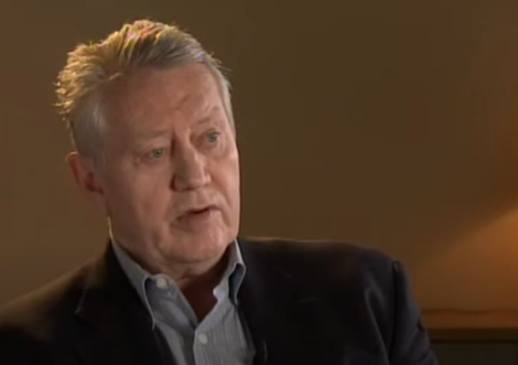 A photo of an interview with Chuck Feeney.
