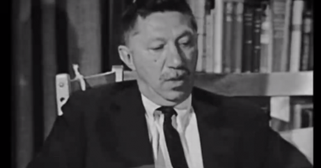 A photo of Abraham Maslow during an interview.