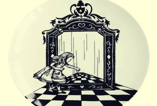 Alice looking at herself in a mirror.