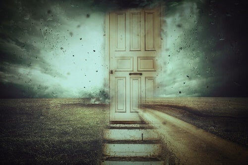 A dirty, broken door, representing the attachment styles and emotional memory.
