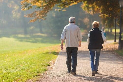 An elderly couple taking a walk.