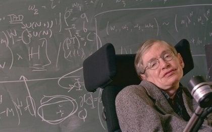 Stephen Hawking in a wheelchair.