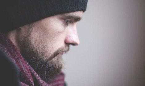 A sad guy in winter.