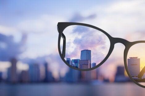 The view through eyeglasses.