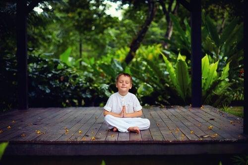 A child meditating.