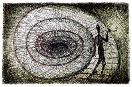 Pencil drawing of a man walking down a spiral staircase.
