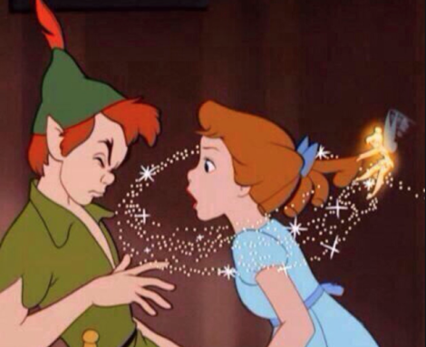 Peter Pan and Wendy showing Disney's version of romantic love.