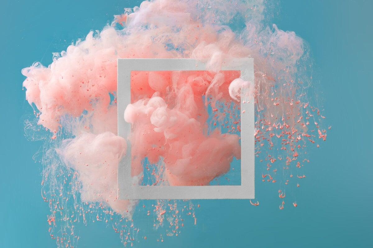 Some pink smoke and a frame.