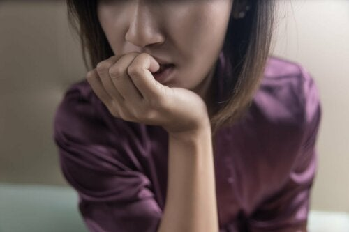 A pensive woman.