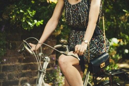 A woman riding a bike.